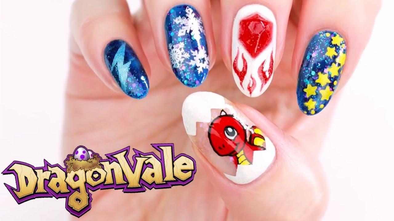 DragonVale Nail Art + DIY Nail Gems! - YouTube