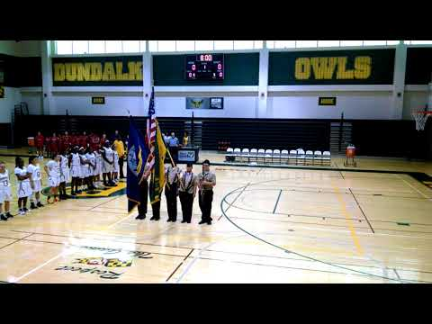 Dundalk High School Varisity Basketball Game Color Guard