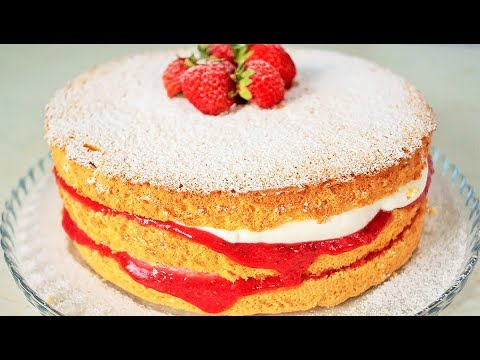 КЛУБНИЧНЫЙ ТОРТ   Бисквитный торт с клубникой   Очень вкусно!   Strawberry cake
