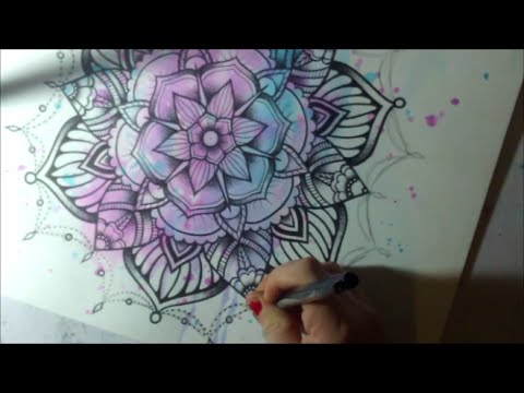 Mandala 2 - Watercolor and Pen Tattoo Style Speed Drawing