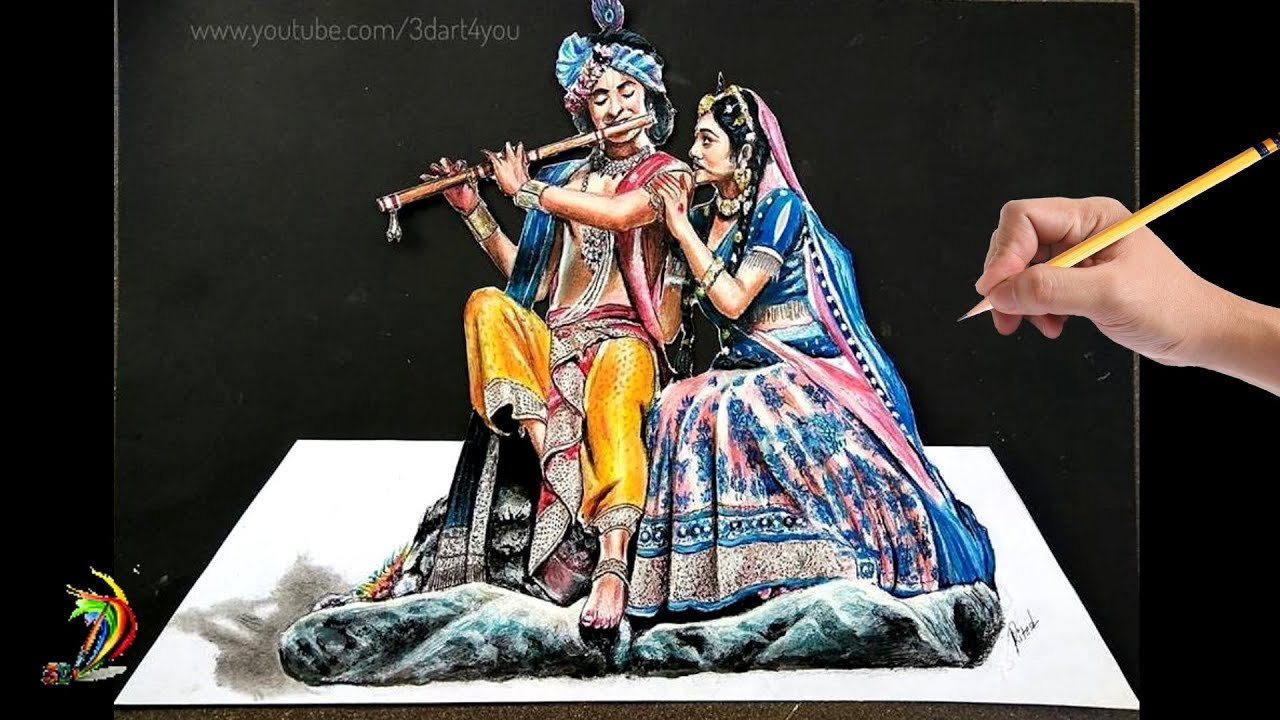 How To Draw Sumedh Mudgalkar Mallika Singh Radha Krishna 3d Drawing Amazing Youtube