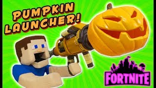 Fortnite NERF Gun REAL LIFE Pumpkin Launcher Weapon Glitch ATTACK!! PUPPET STEVE DESTROYS EVERYONE!