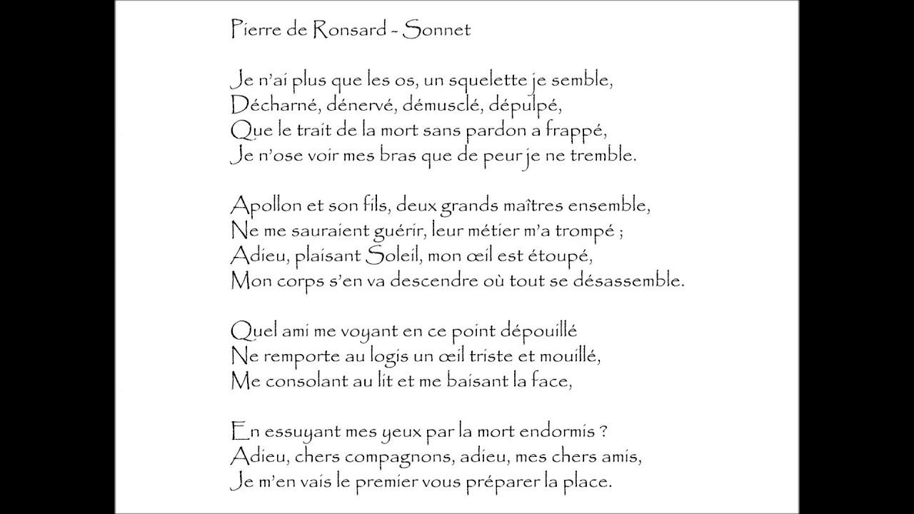 ronsard sonnet je n 39 ai plus que les os audioth que youtube. Black Bedroom Furniture Sets. Home Design Ideas