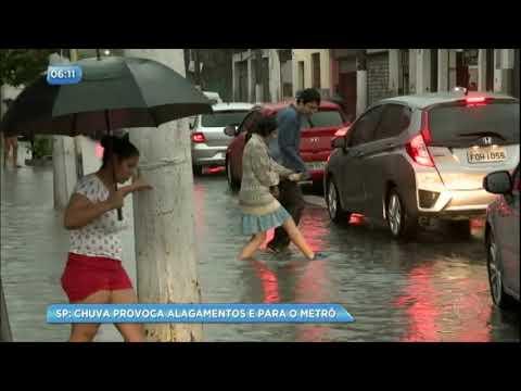 Chuva provoca alagamentos e recorde de congestionamento em SP