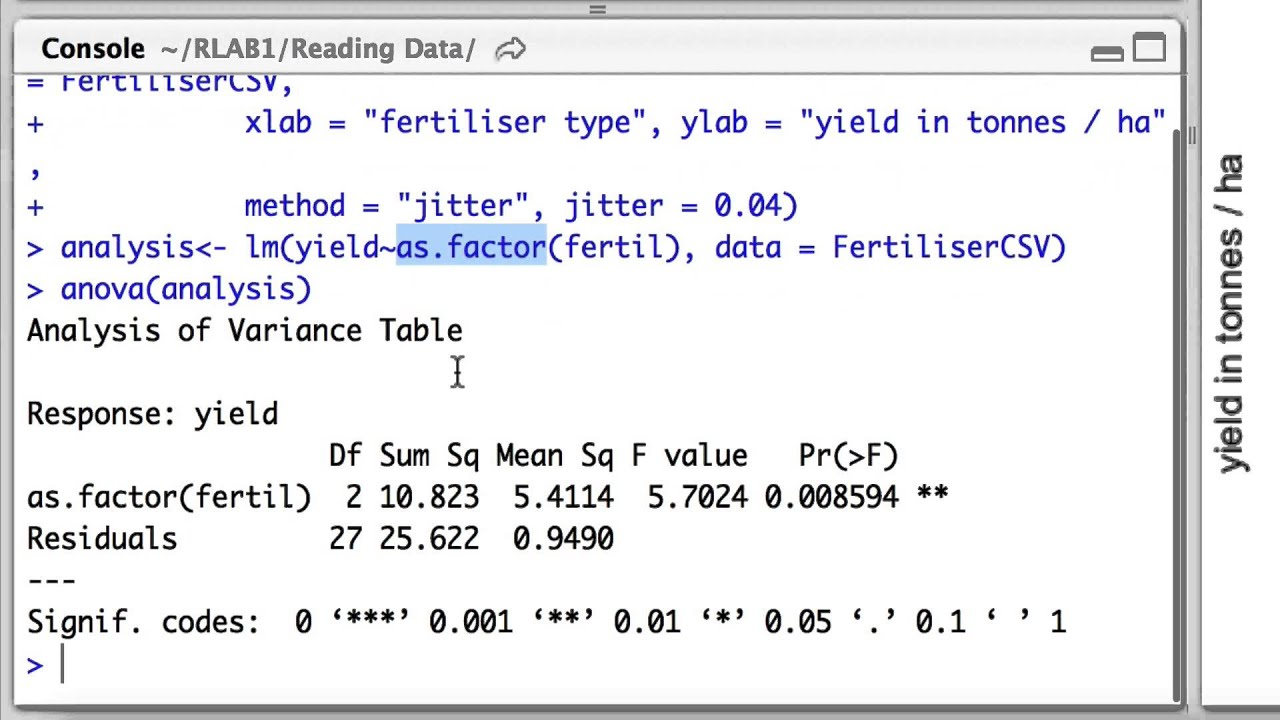One way anova in rstudio youtube for 1 way anova table