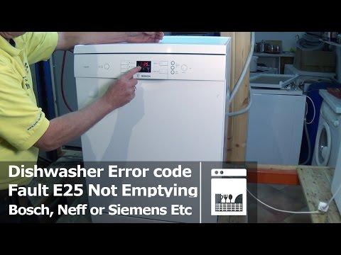 Bosch, Neff or Siemens Dishwasher not emptying fault E25