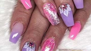 Pink and purple | Acrylic Nails