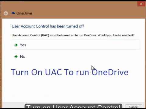 User Account Control has been turned off / how to turn on UAC in Windows 8.1