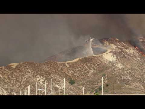 Sand Fire - Santa Clarita CA - Helicopter water drop