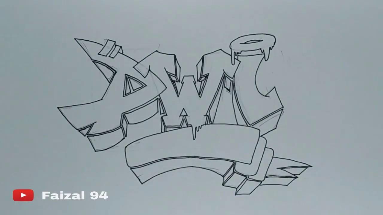 Graffiti Nama Dwi Simple Dan Mudah Speed Drawing Youtube