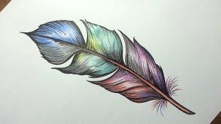 Como desenhar PENA para Tatoo - passo a passo