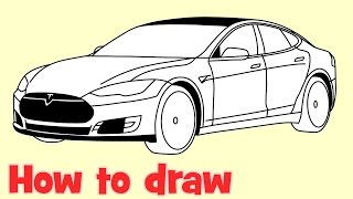 How to draw a car Tesla Model S