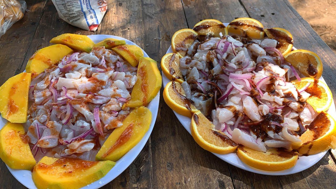 Callos d e róbalo al mango y ala naranja