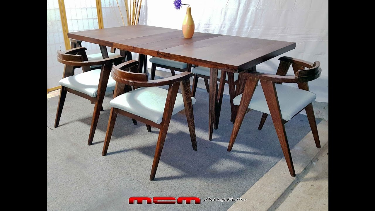 Complete Mid Century Modern 9 Piece Compass Chairs Allan Gould Style Dining Set