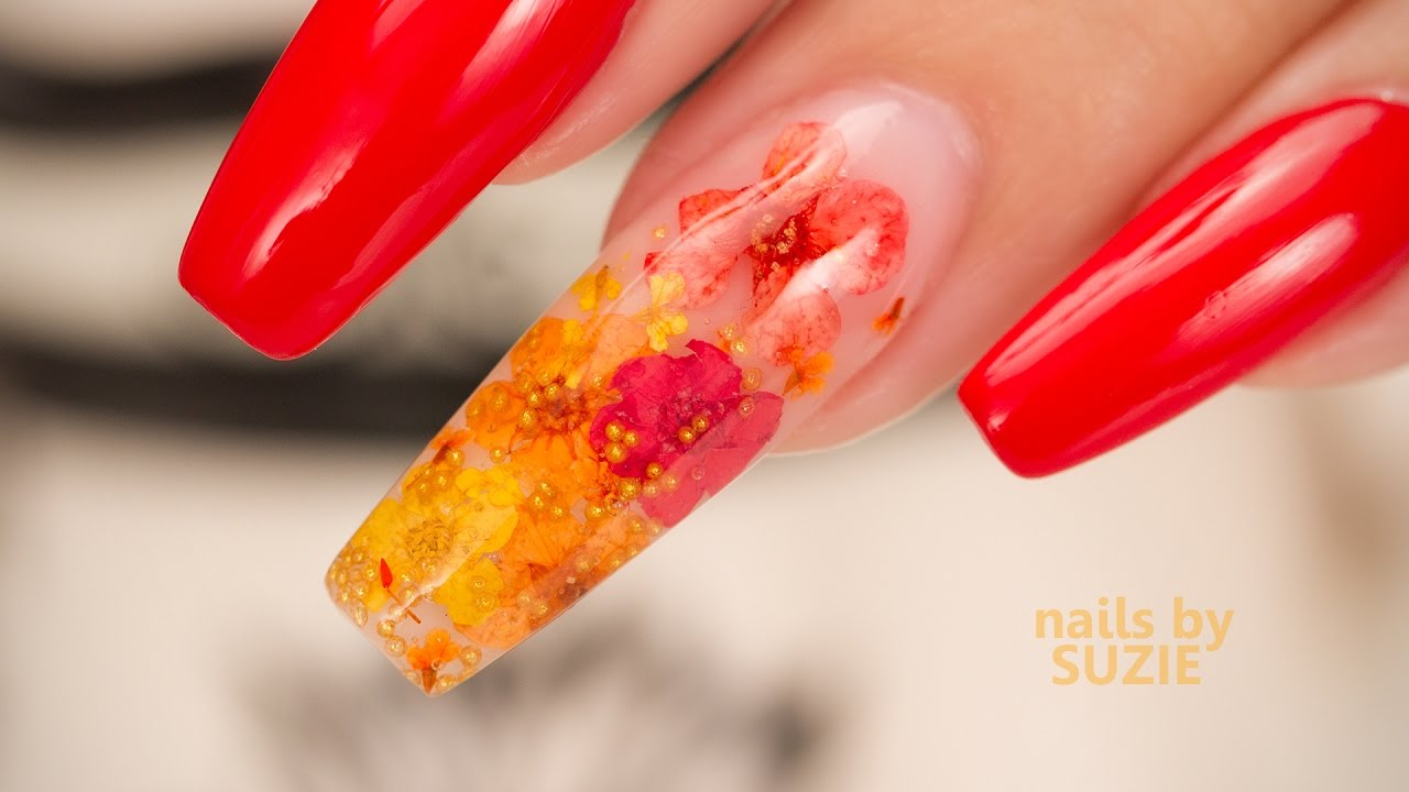 Gel Inlay with Real Flowers - YouTube