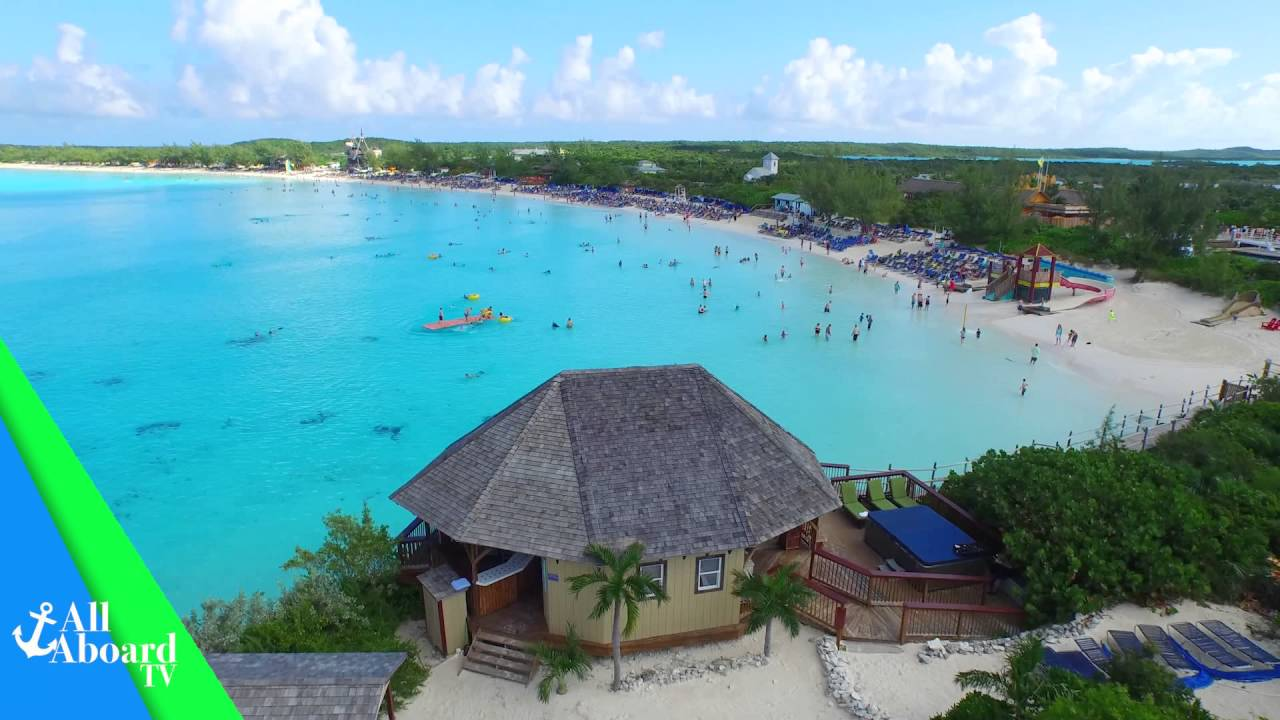 Carnival Cruise Lines Half Moon Cay 4k Aerial Video