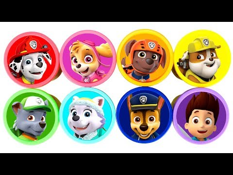 Paw Patrol Play Doh Cans Surprise Toys Learn Colors with Skye Everest Chase Rocky Zuma Ryder Rubble