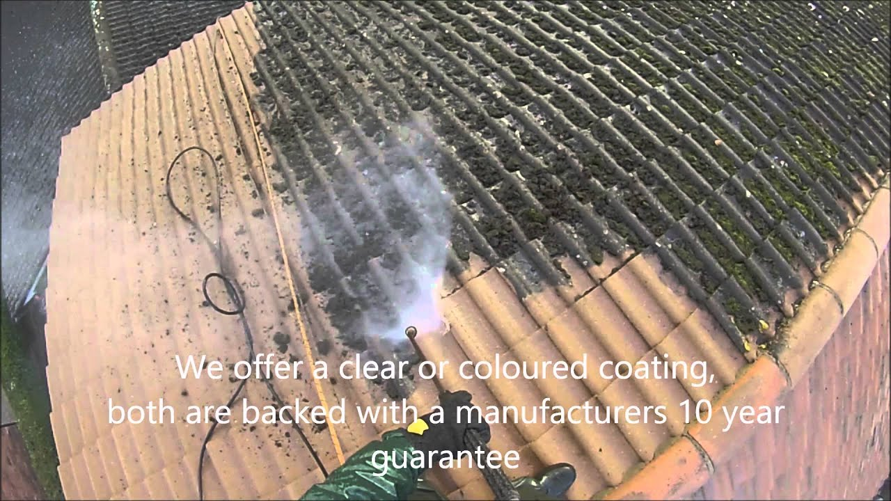 Roof Cleaning In The UK   Removing Moss From Concrete Roof Tiles By Great  Outdoors And In Ltd   YouTube