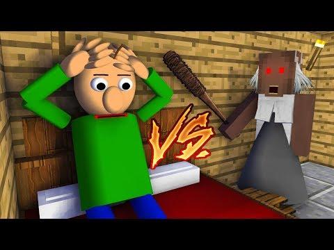 Monster School : GRANNY HOROR GAME VS BALDI'S BASICS CHALLENGE - Minecraft Animation