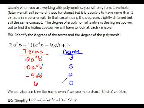 Degree Of A Polynomials With Multiple Variables 103 Youtube
