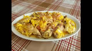 Чихиртма тушеная с луком курица Азербайджанская кухня