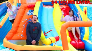 LAST TO LEAVE THE WATER SLIDE BOUNCE HOUSE INSIDE THE POOL WINS $10,000 CHALLENGE!