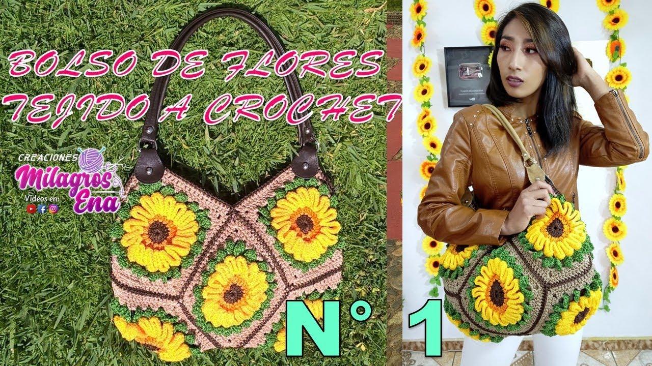 Bolso de Flores tejido a crochet o ganchillo paso a paso en video ...