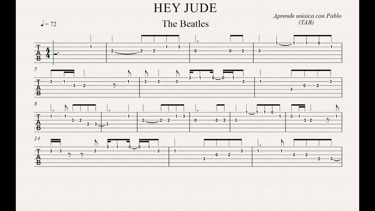 Hey jude tab guitarra tablatura con playback