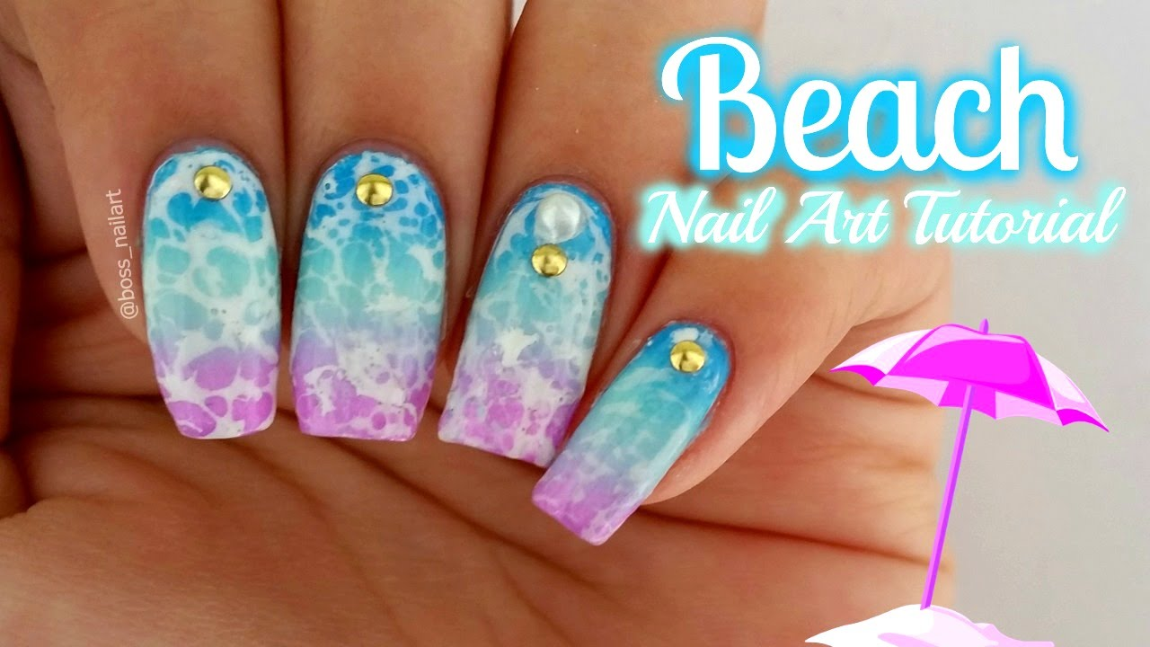 COLORFUL BEACH NAIL ART | Summer Nail Art - YouTube