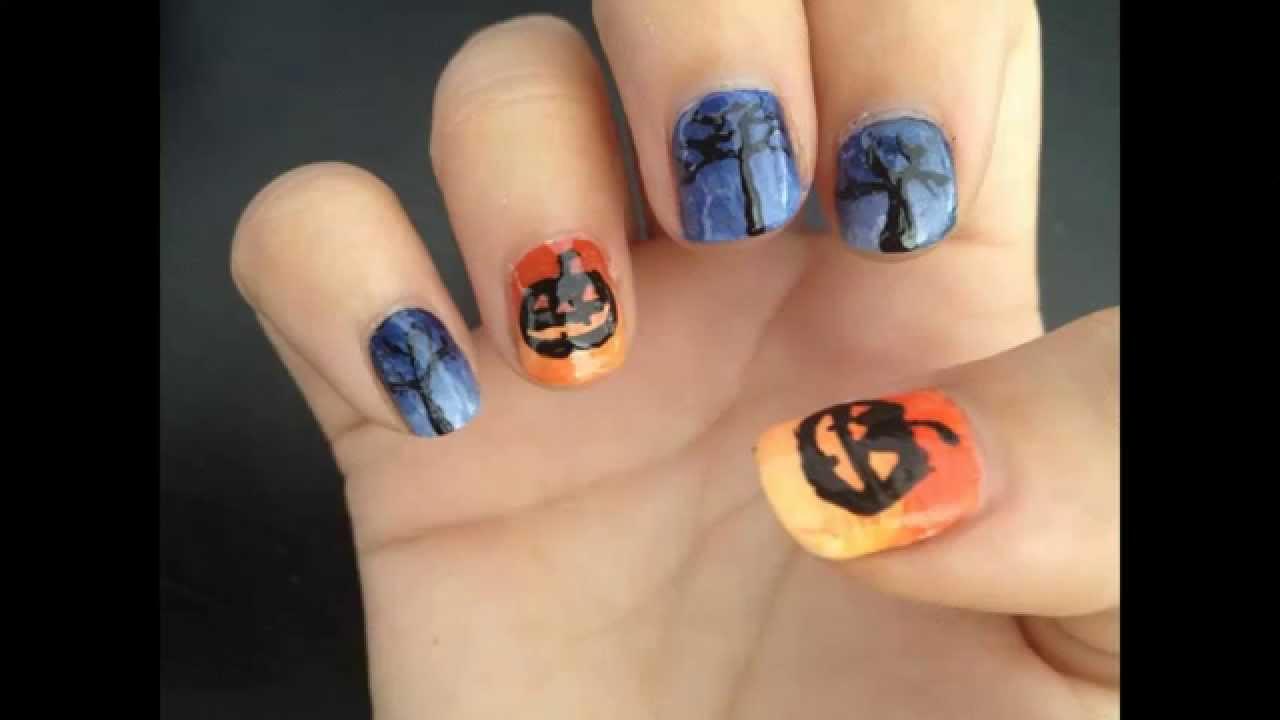 Halloween Themed Nail Art Pumpkin And Trees Youtube