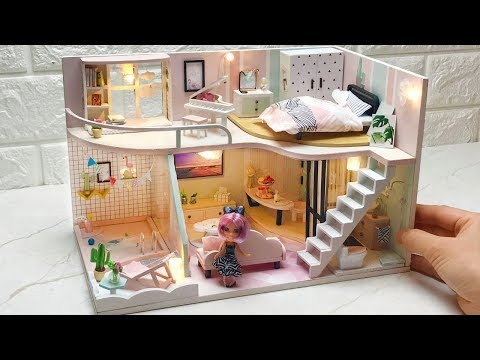 DIY Miniature Barbie Dollhouse  Bedroom, Living room, Terrace and more