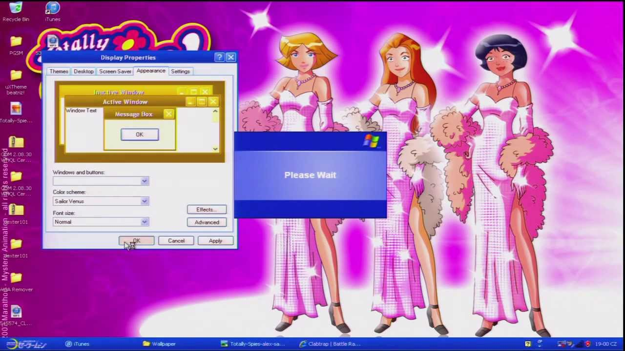 winxp sp3 sailor moon stylexp skin themes demonstration w totally
