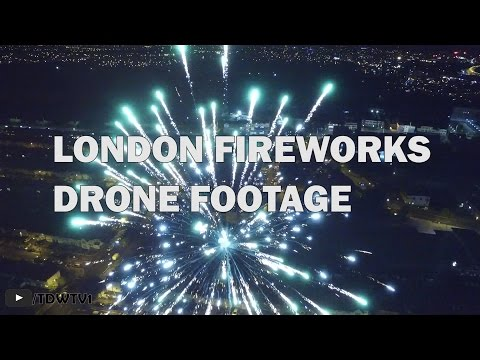 London Fireworks Captured by Drone thumbnail