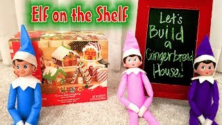 Elf on the Shelf! Blue Gift Elf Brings Gingerbread Man Houses!! Huge Giveaway Announcement! Day 5