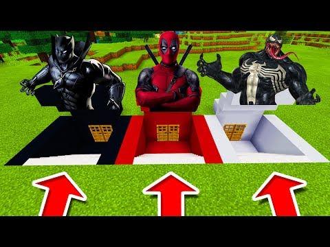 Minecraft PE : DO NOT CHOOSE THE WRONG SECRET BASE! (Black Panther, DeadPool & Venom)