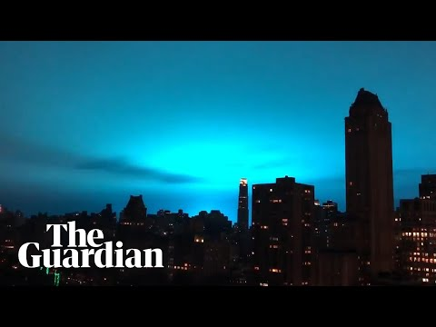Bright sky at night: power plant explosion turns New York City horizon blue