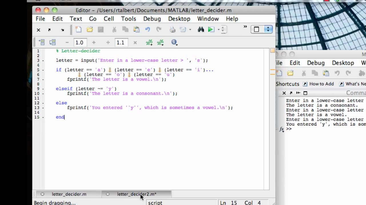 Switch statement and command