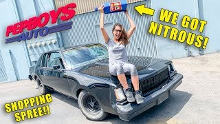WE GOT NITROUS FOR MY GRANDMA'S CAR! SHOPPING SPREE AT PEP BOYS! BREAKING THE BANK..
