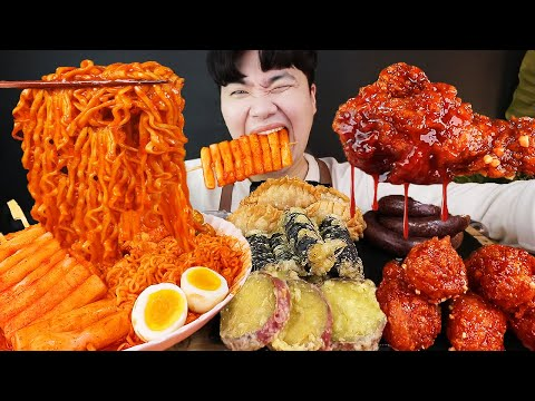 ASMR MUKBANG 핵불닭 떡볶이 & 양념 치킨먹방! FIRE Noodle Tteokbokki & FRIED CHICKEN EATING SOUND! Gà