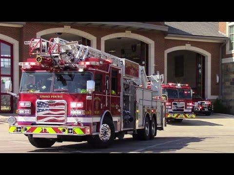 Grand Prairie Fire Dept. Truck 1, Battalion 1, Engine 1, & Air 1 Responding