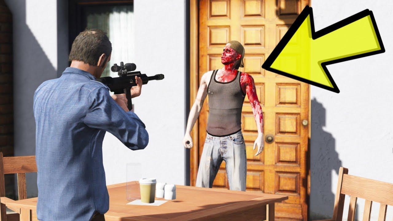 KANLI EVIN ARKA KAPISI AÇILDI VE BIRI ÇIKTI EVDEN  (GTA 5)