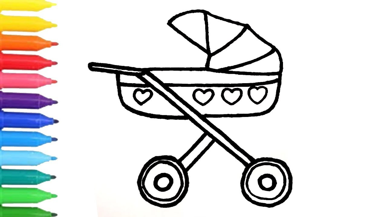 How To Draw Baby Carriage Colouring Book For Kids Learning