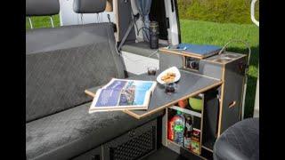 SpaceCamper: open- Küche innen (Doppeltürer Bulli mit herausschwenkbarer Küche)
