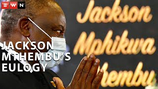 President Cyril Ramaphosa delivered the eulogy of the late minister Jackson Mthembu at his funeral, in his hometown of Ackerville on Sunday, 24 January 2021. Mthembu was laid to rest after he succumbed to COVID-19 complications.  #COVID19 #JacksonMthembu #RIPJacksonMthembu