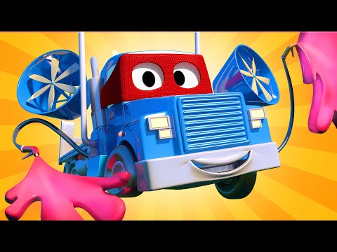 The mobile paint truck  - Carl the Super Truck - Car City ! Cars and Trucks Cartoon for kids