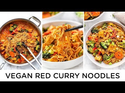 EASY VEGAN RED CURRY NOODLES ‣‣ 30 Minute Dinner Idea