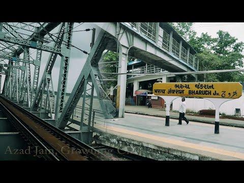 Bharuch railway station Junction and Golden Bridge on Narmada river, Gujarat. भरूच, नर्मदा नदी पुल