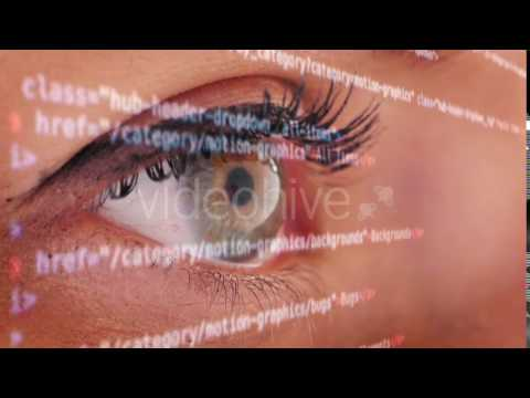 Futuristic Screen with Eye Close Up Stock Footage