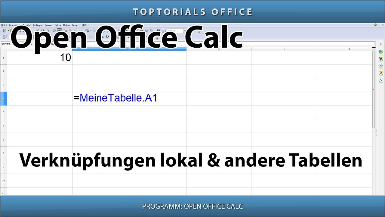 Verknüpfungen lokal und zu anderen Tabellen (OpenOffice Calc) - YouTube