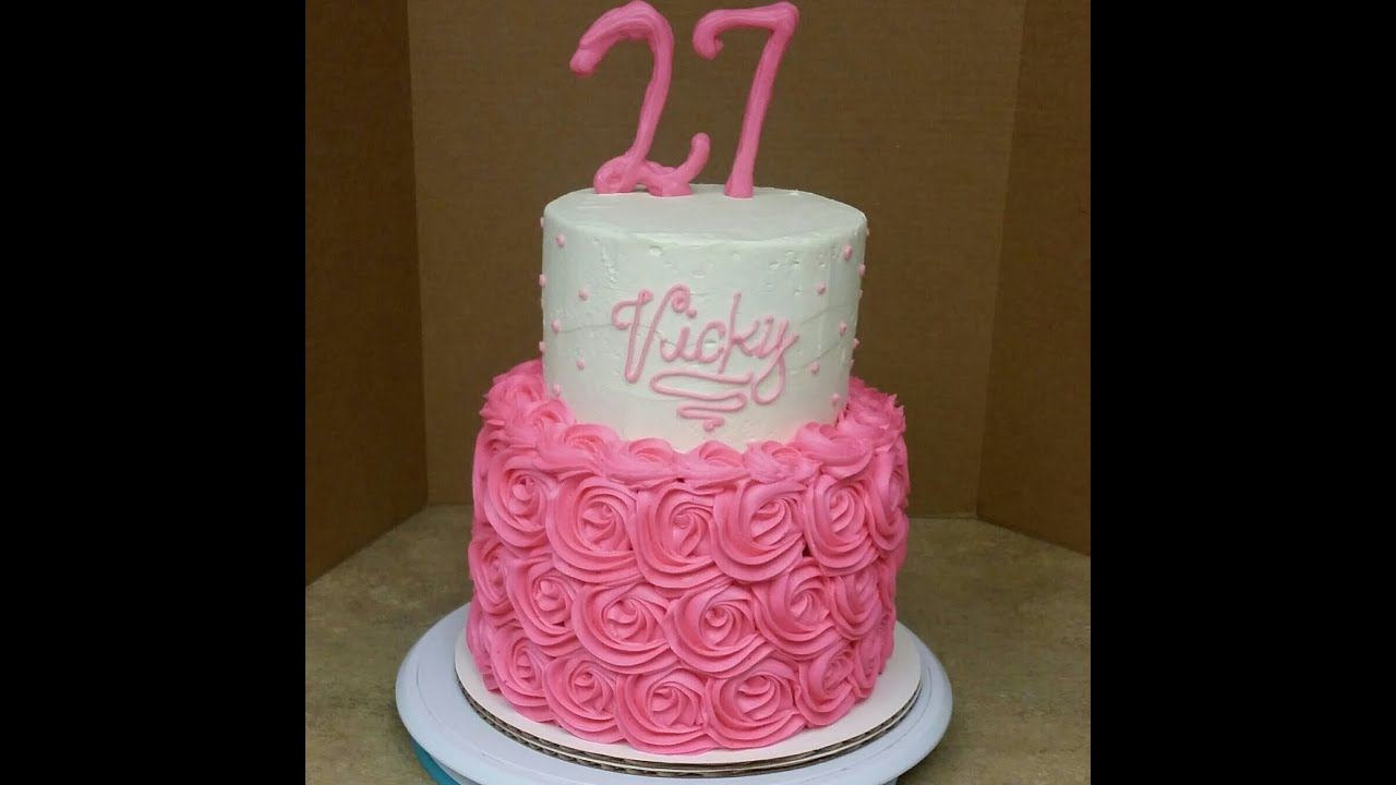 2 Tier Rosette Birthday Cake Decorating